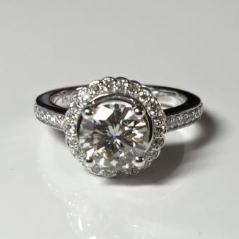 halo custom diamond engagement ring