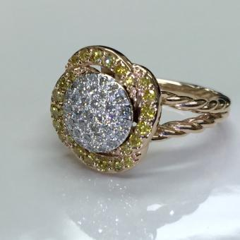 Fancy yellow pave diamond ring